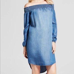 Isabel Off Shoulder Denim Chambray Dress